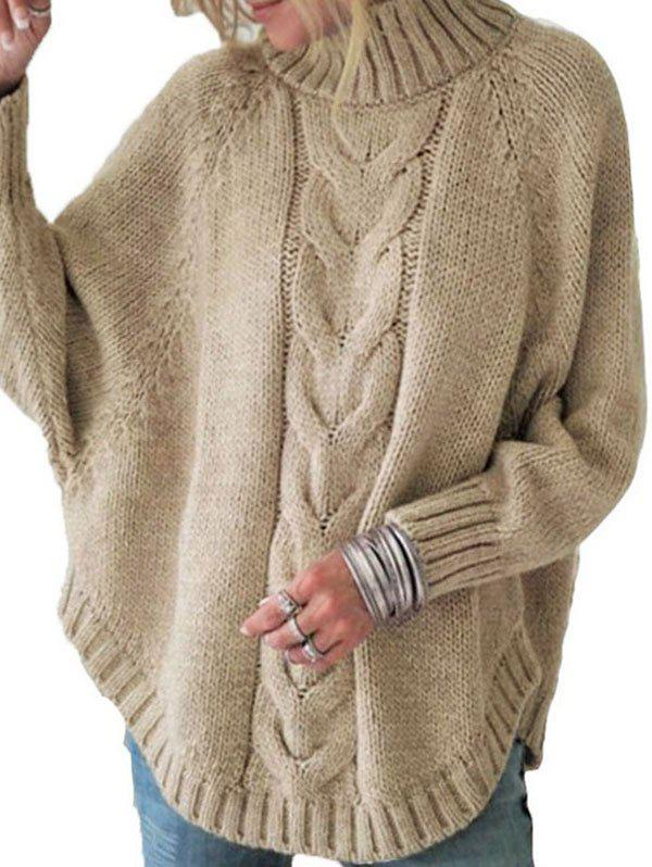 Buy Mock Neck Cable Knit Raglan Sleeve Sweater