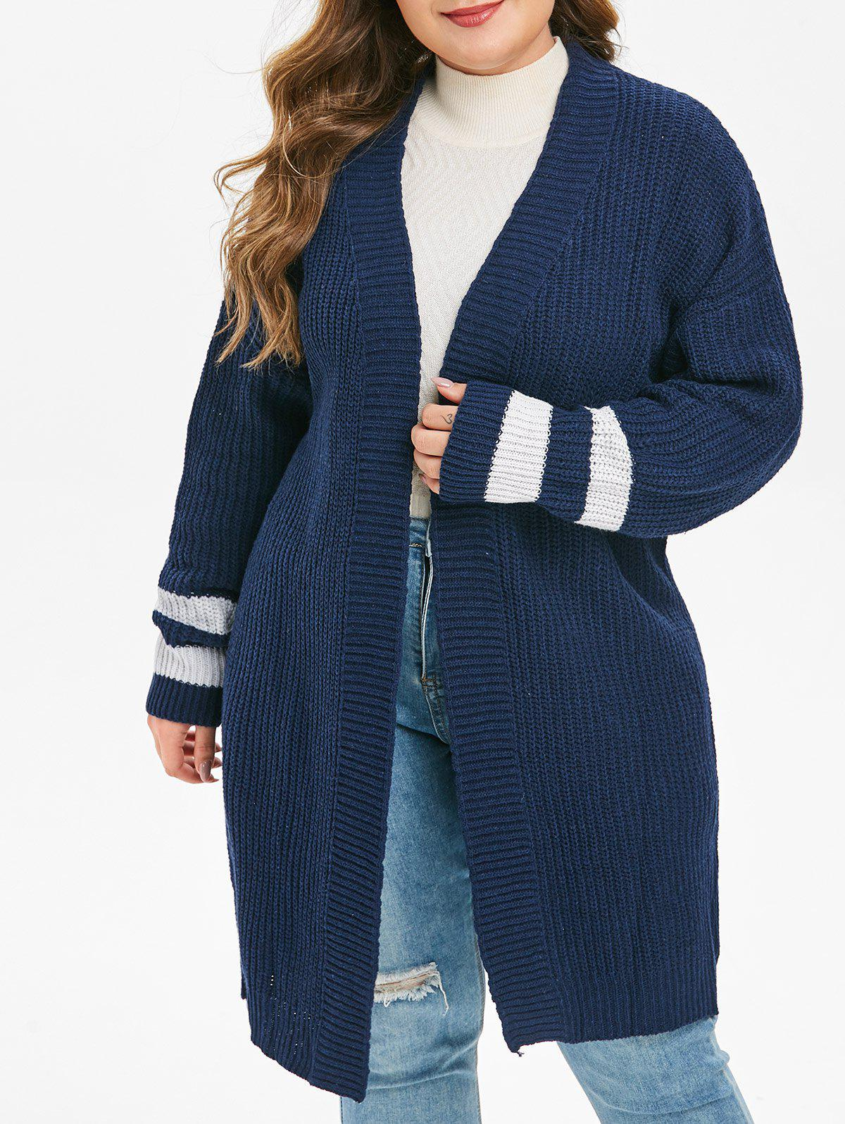 Online Plus Size Striped Cuff Drop Shoulder Open Front Cardigan
