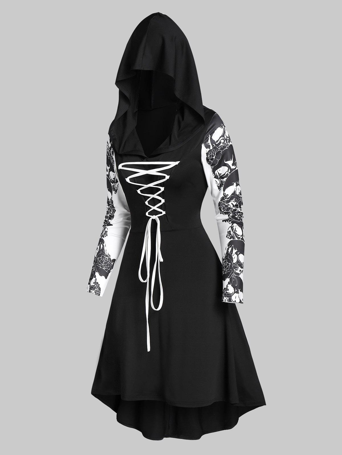 Outfits Hooded Skull Print Lace-up High Low Flare Dress
