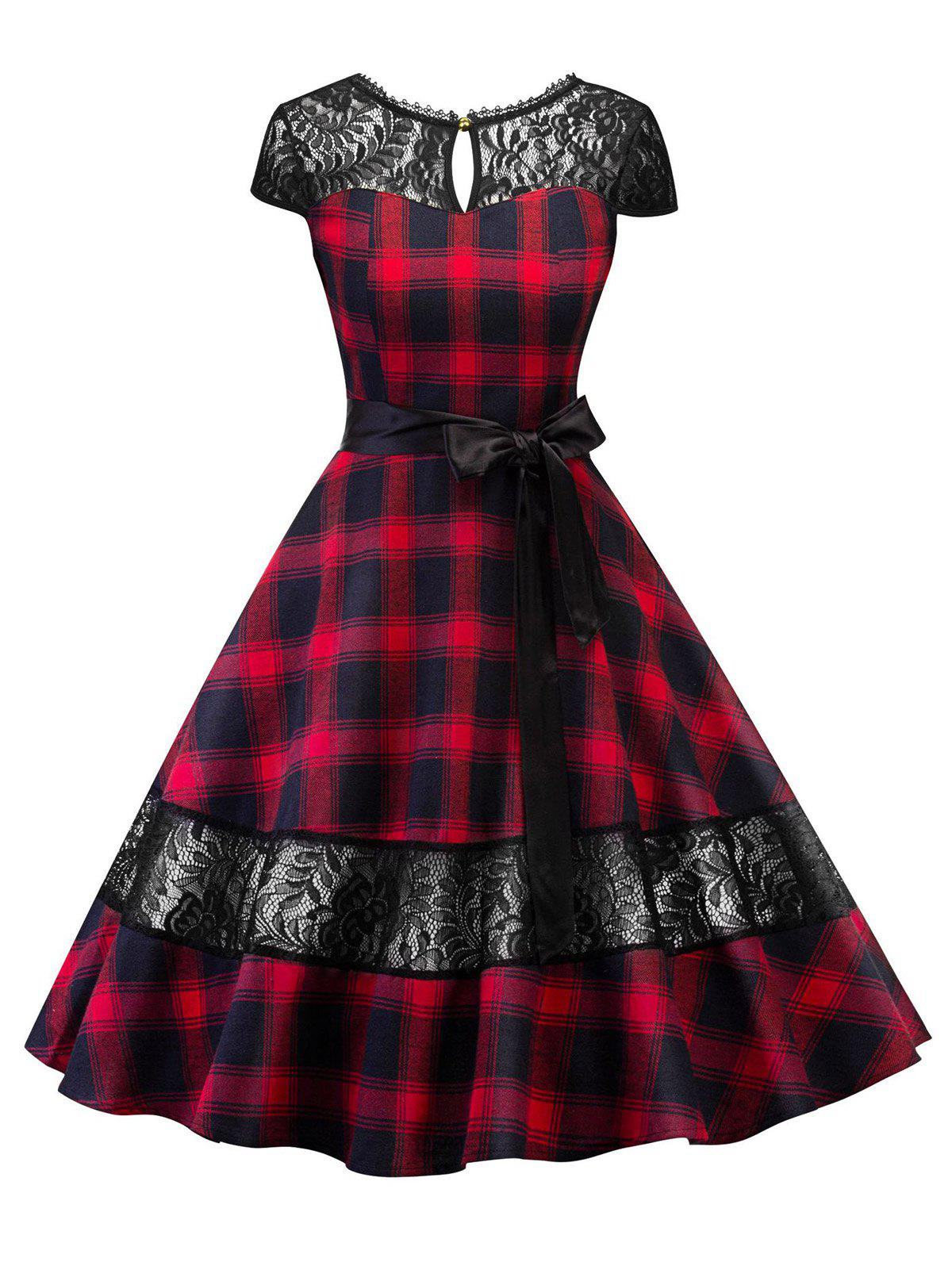 Hot Lace Panel Plaid Belted Cut Out Dress