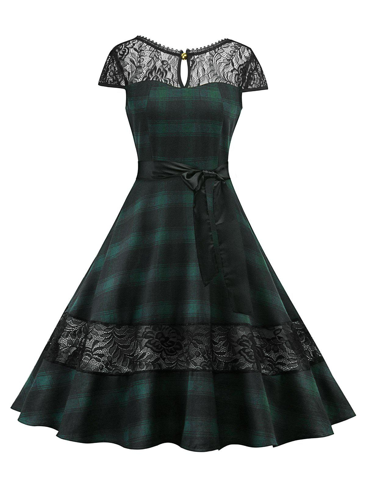 Affordable Lace Panel Plaid Belted Cut Out Dress