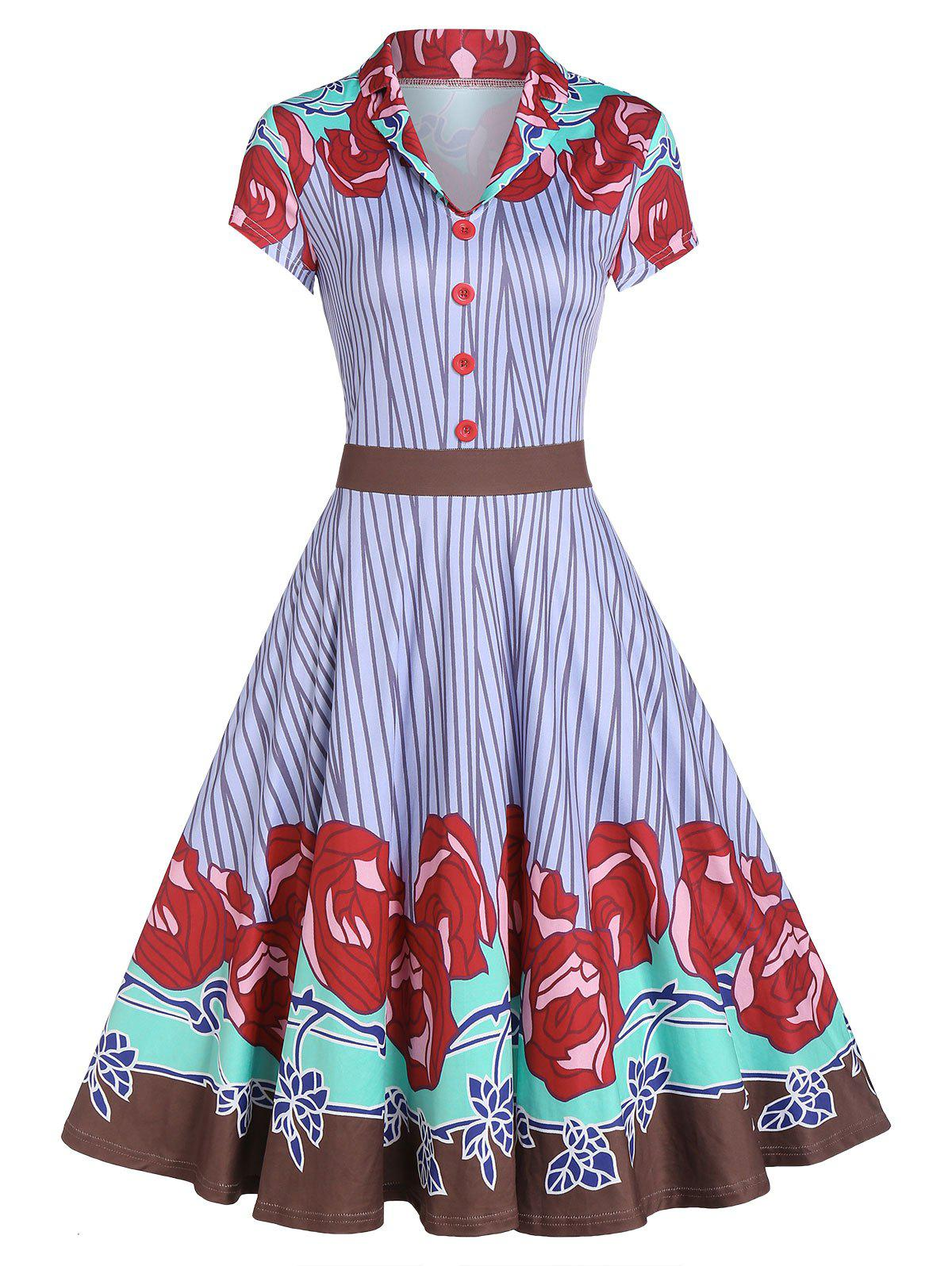 Chic Rose Pattern Striped Button A Line Dress