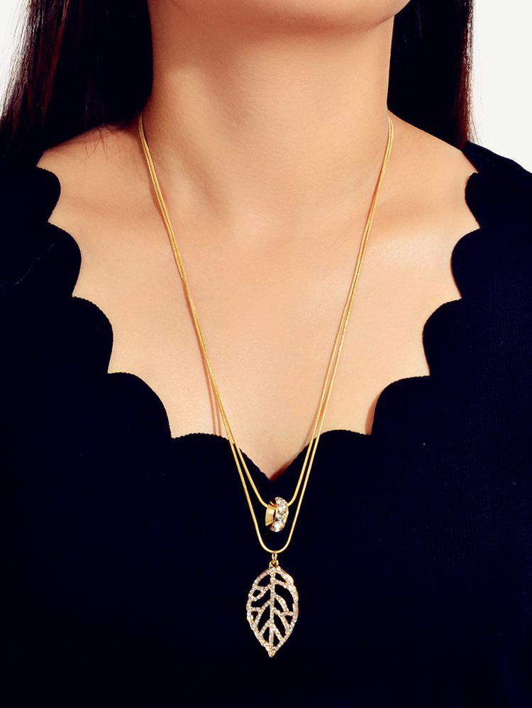 Store Hollow Leaves Pendant Rhinestone Layers Necklace