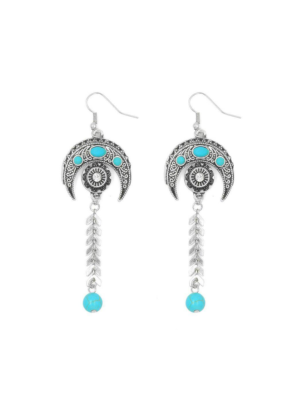 Online Bohemian Carved Moon Herringbone Turquoise Earrings