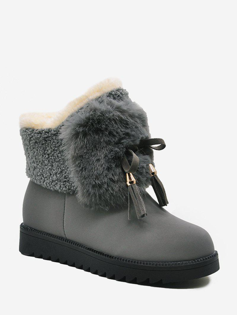 Chic Bowknot Decorated Plush Ankle Boots