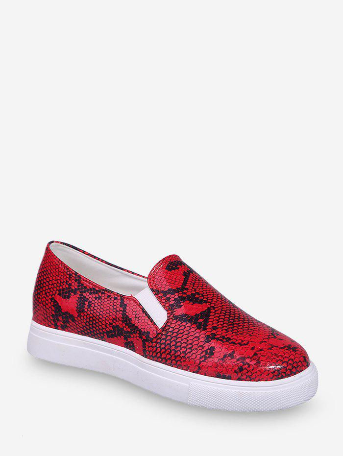 Hot Snakeskin Print Slip On Casual Shoes