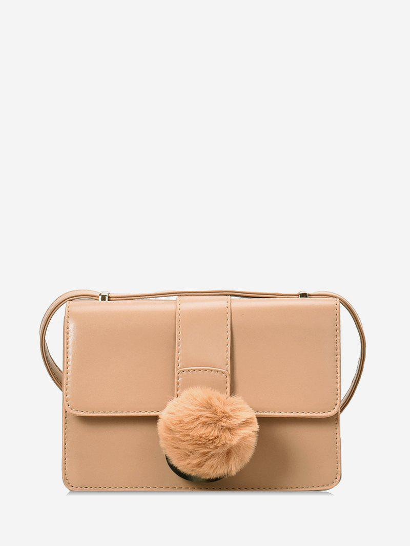 Trendy Fuzzy Ball Decorated Simple Shoulder Bag