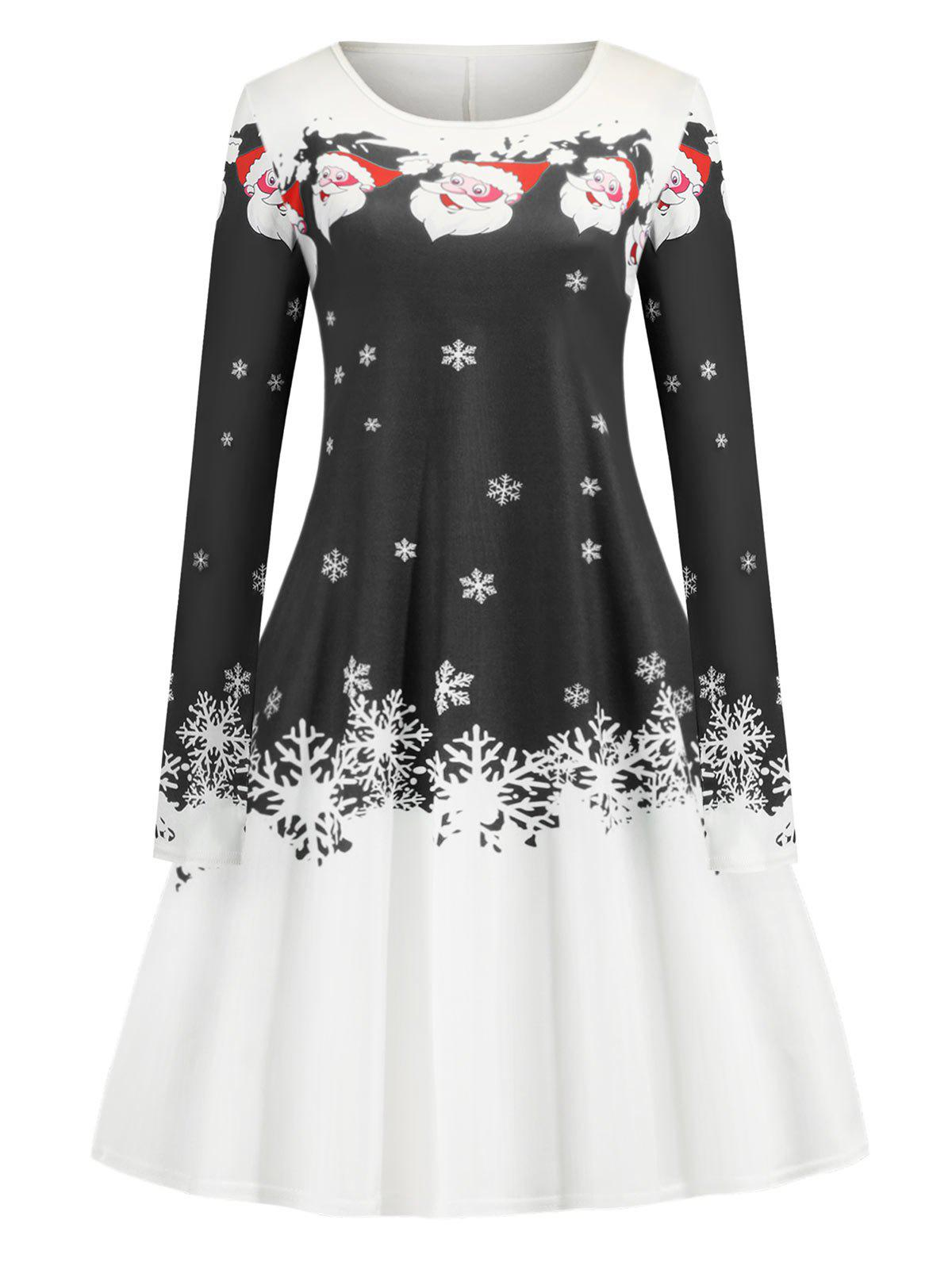 Buy Christmas Santa Claus Snowflake Print A Line Mini Dress