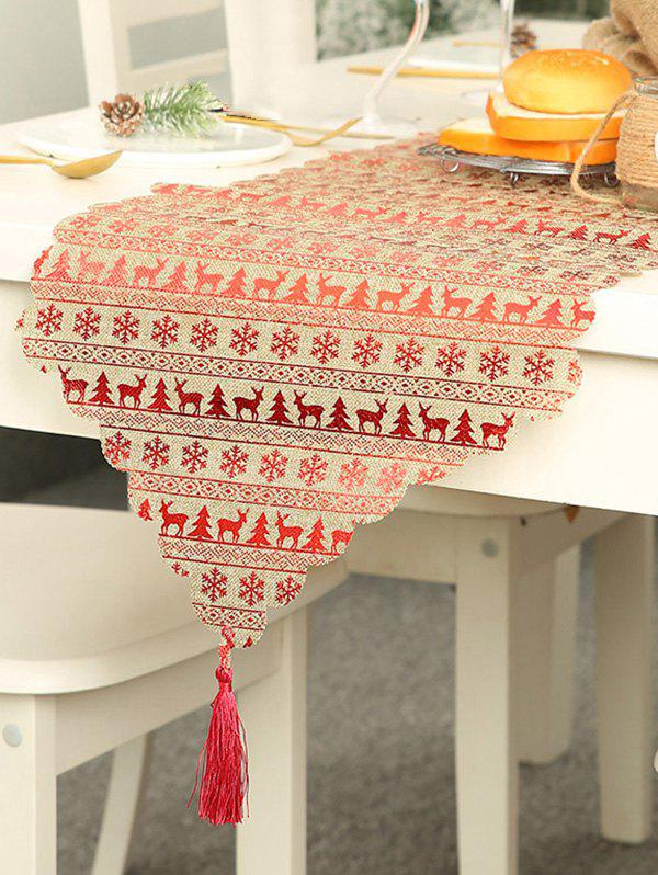 Fashion Christmas Snowflake Pattern Tasseled Table Runner