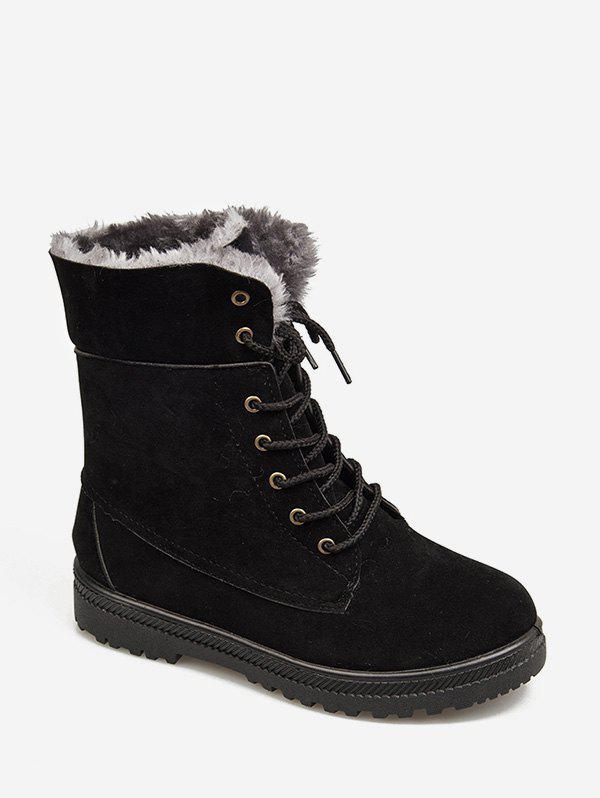 Buy Solid Color Lace-up Design Fuzzy Boots