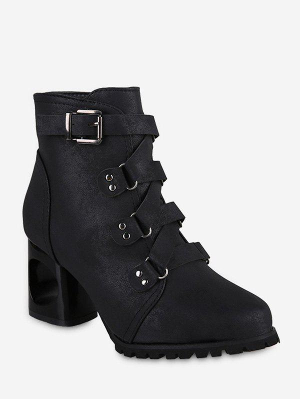 Shop Pointed Toe Buckled High Heel Short Boots
