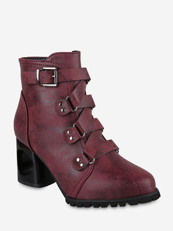 Cheap Pointed Toe Buckled High Heel Short Boots