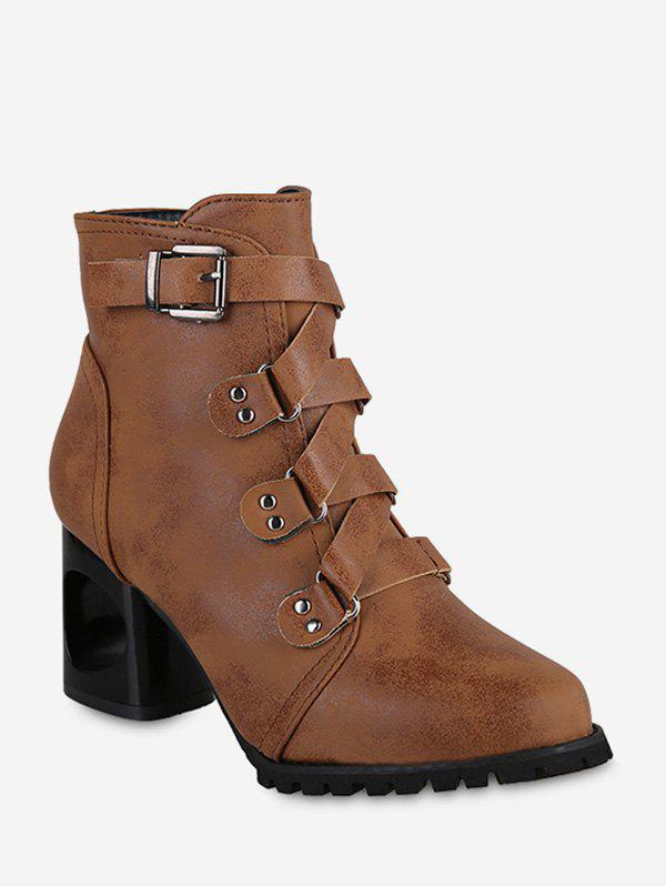 Pointu Buckled talon haut court Bottes