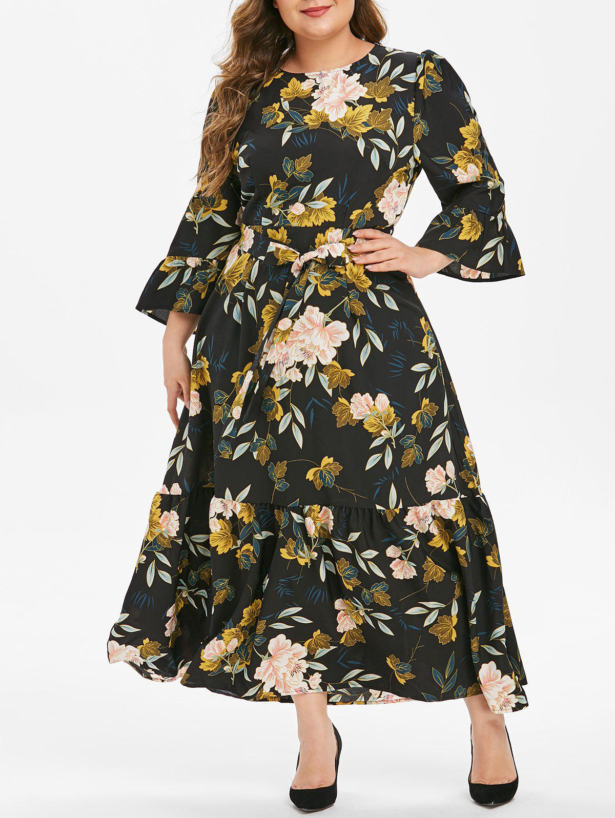Outfits Plus Size Flower Print Flounce Flare Sleeve Belted Dress