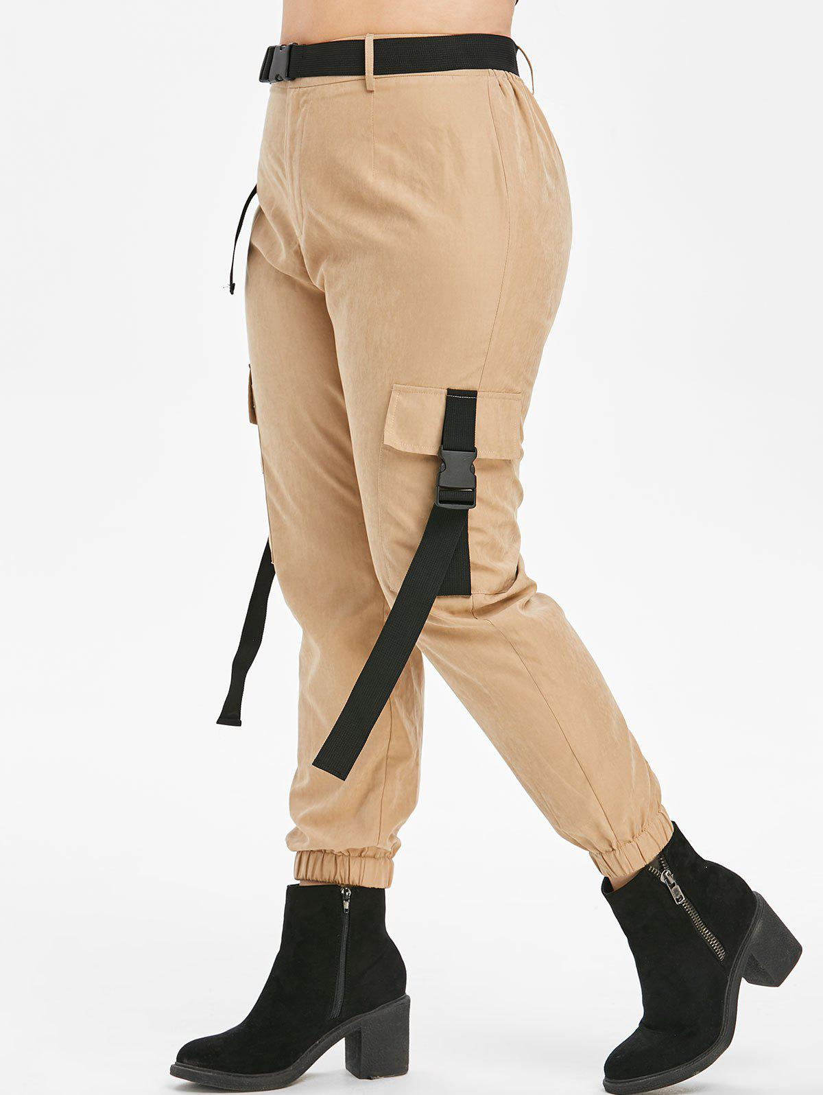 Taille Plus Pantalon Zipper Fly Jogger Bronze 5X