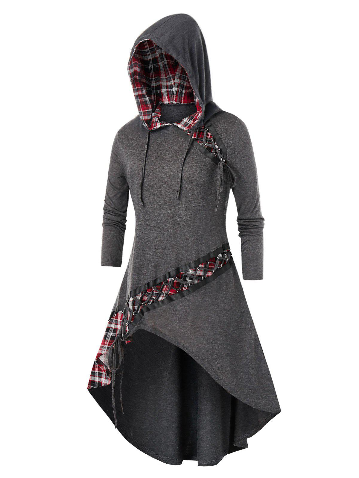Plus Size High Low Lace Up Asymmetrical Plaid Hooded Tee фото