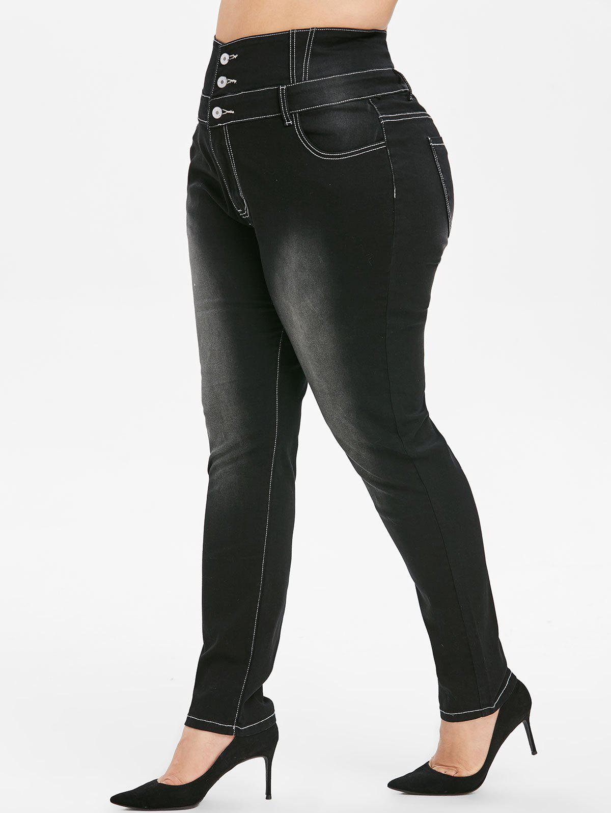 Best Plus Size High Rise Button Fly Skinny Jeans