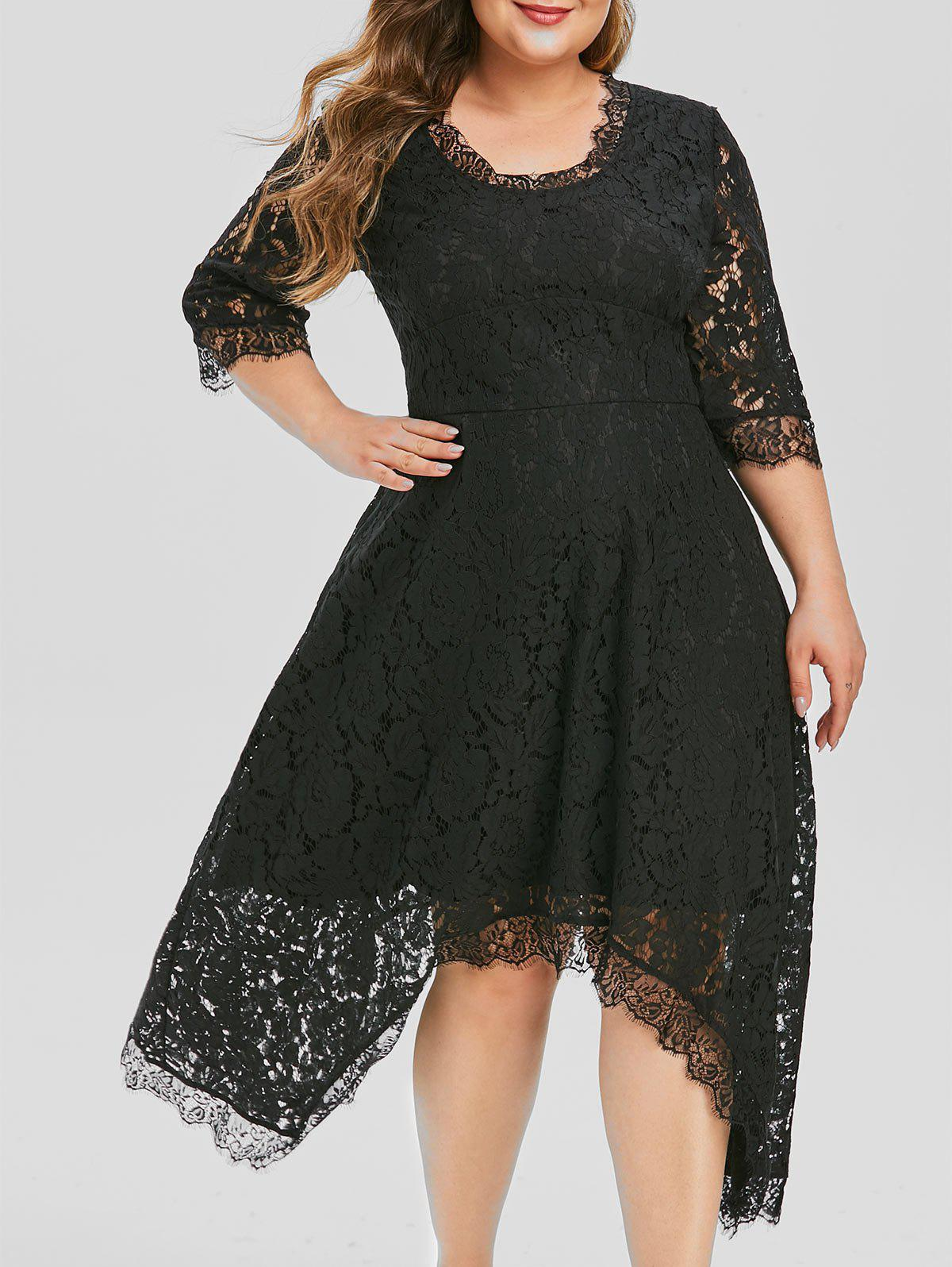 Plus Size Handkerchief Lace Evening Dress фото
