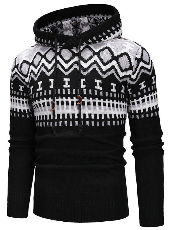 Discount Geometric Print Hooded Pullover Sweater
