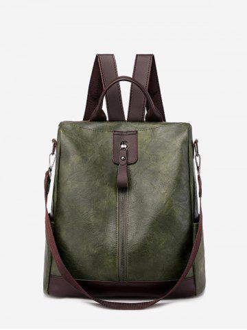 Multi Handle PU Leather Casual Backpack