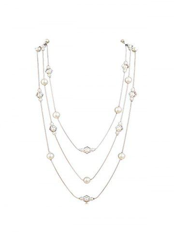 Fresh Style Faux Pearl Long Layered Necklace