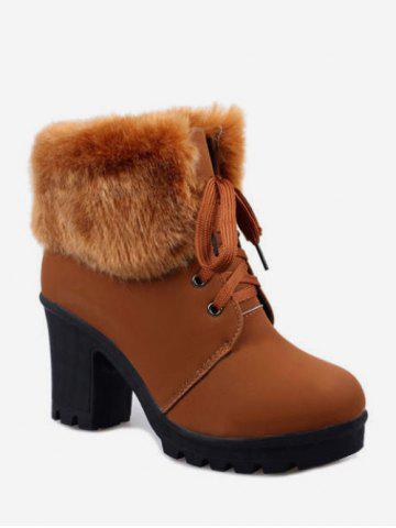 Faux Fur Foldover Lace Up High Heel Boots