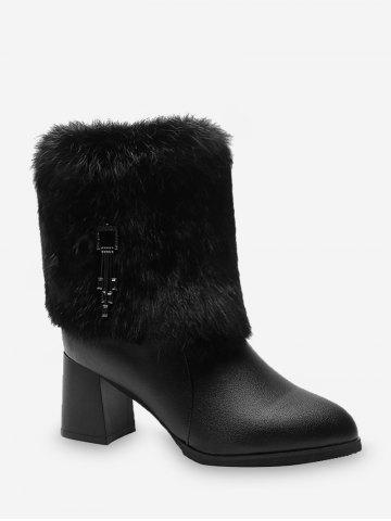 Faux Fur Chunky Heel Tasseled PU Leather Boots