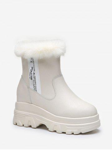 Fuzzy Trim High Platform Casual Boots