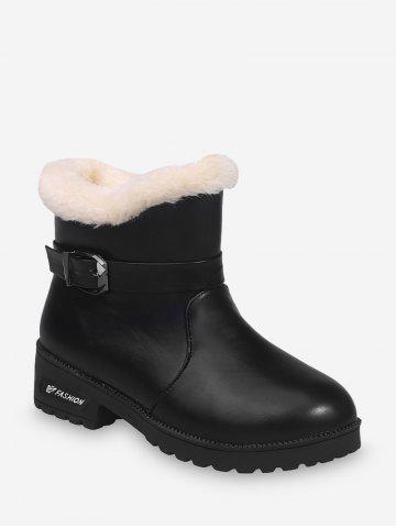 Buckle Strap PU Leather Faux Fur Ankle Boots