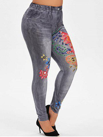 Plus Size Butterfly Flower Print High Waisted Jeggings