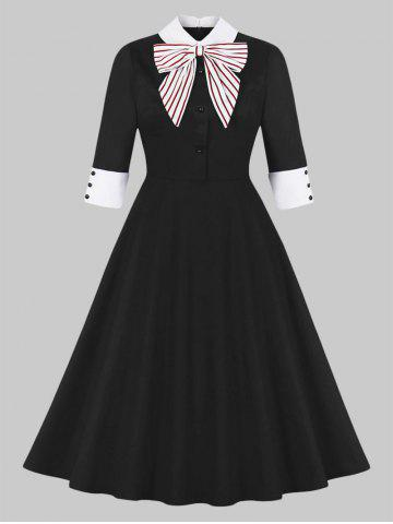 Striped Bowknot Collared 50s Dress