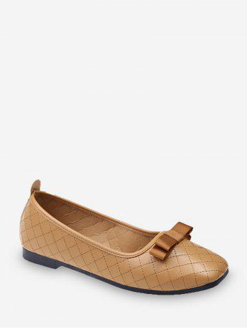Bowknot Grid Sew PU Leather Flats - LIGHT KHAKI - EU 42