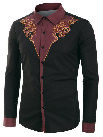 Tribal Printed Button Up Long-sleeved Shirt