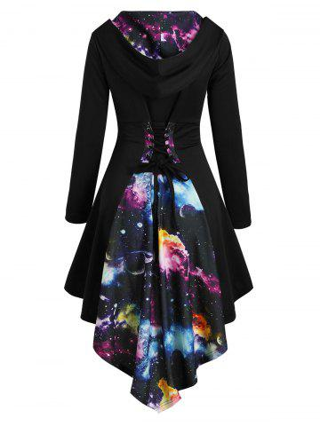 Lace Up Planet Print Dip Hem Hooded Dress
