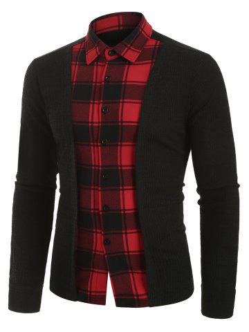 Plaid Print Button Up Ribbed Insert Faux Twinset Shirt