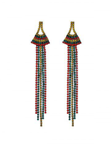 Tassel Colored Rhinestone Drop Earrings