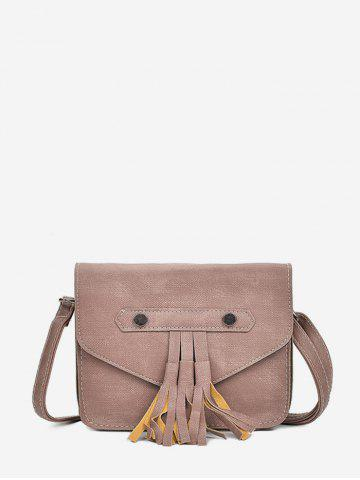 Fringe Accent Flap Casual Crossbody Bag