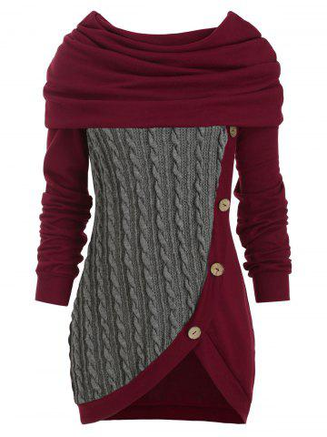 Cowl Neck Cable Knit Tunic Knitwear