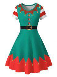 Plus Size Christmas Bell Print Fit and Flare Dress -