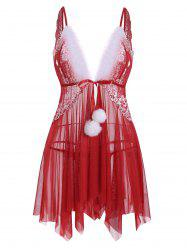 T Back Christmas Fuzzy Pompoms Tie Front Sheer Mesh Plus Size Babydoll -