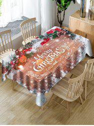 Christmas Branches Greeting Print Waterproof Fabric Tablecloth -