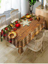 Merry Christmas Wooden Star Fabric Table Cloth -