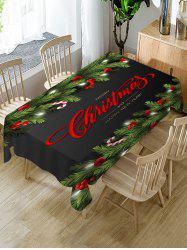 Christmas Greeting Ball Branches Print Waterproof Fabric Tablecloth -