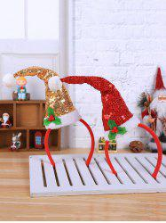 2 Pcs Christmas Hat Pom Pom Sequined Hair Bands -
