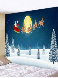 Father Christmas Snow Deer Printed Tapestry -