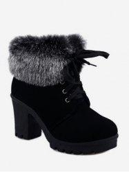 Faux Fur Foldover Lace Up High Heel Boots -