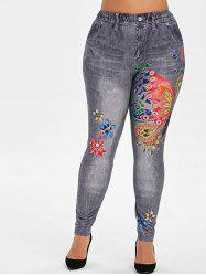 Plus Size Butterfly Flower 3D Print High Waisted Jeggings -