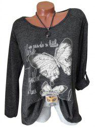 Plus Size Butterfly Print Marled T Shirt -
