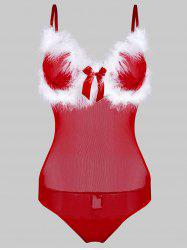 Bowknot Fuzzy Sheer Mesh Christmas Plus Size Teddy -