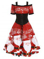 Christmas Santa Claus Musical Note Lace Up Ruffle Dress -